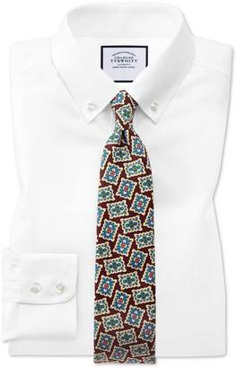 Charles Tyrwhitt Classic Fit White Button-Down Collar Non-Iron Twill Cotton Dress Shirt Single Cuff Size 15/35