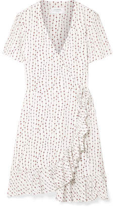 La Ligne Printed Crepe Wrap Mini Dress - White