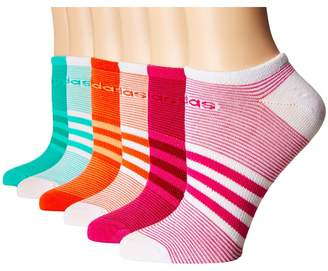 adidas Superlite Mini Stripe 6-Pack No Show Socks Women's No Show Socks Shoes