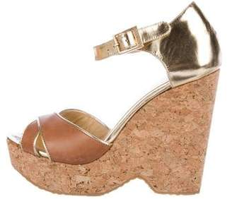 Jimmy Choo Metallic Leather Platform Wedges