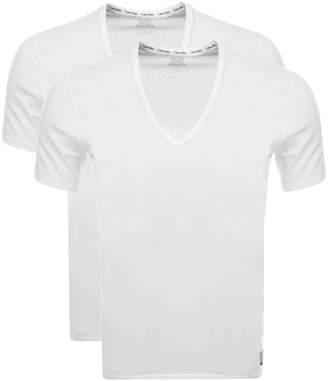 Calvin Klein 2 Pack V Neck T Shirts White