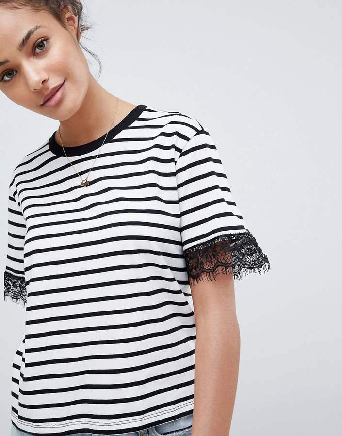 DESIGN boxy t-shirt with lace trim detail in stripe
