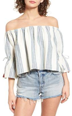 Tularosa Alexa Off-the-Shoulder Linen Lace Blouse