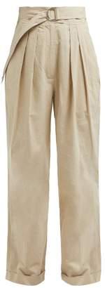 Masscob Nasua High Rise Pleated Cotton Trousers - Womens - Beige