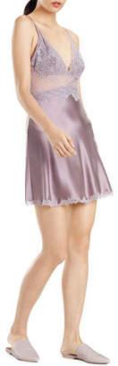 Josie Natori Sleek Lace-Bodice Silk Chemise