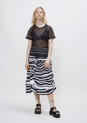 Comme des Garcons GIRL black white x white tiered ruffle skirt $1,364 thestylecure.com