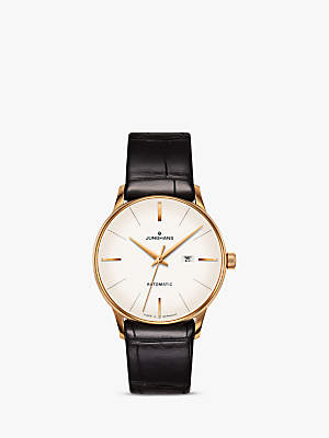Junghans 027/7845.00 Women's Meister Automatic Date Crocodile Leather Strap Watch, Black/White