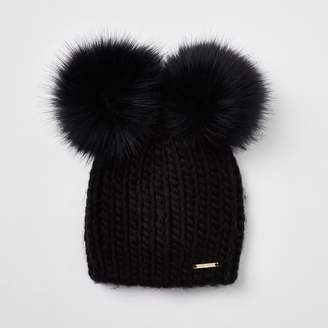 River Island Womens Black faux fur double pom pom beanie