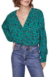 ASTR the Label Trixie Wrap Front Long Sleeve Wool Blend Bodysuit