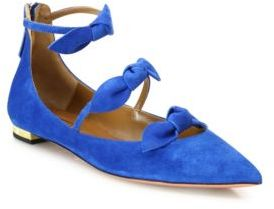 Aquazzura St. Tropez Bow Suede Point Toe Flats $725 thestylecure.com