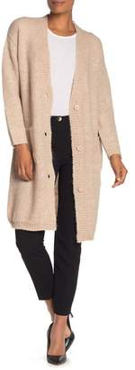 Magaschoni M BY Long Sleeve V-Neck Button Down Cardigan