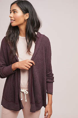 Three Dots Hooded Waffle Cardigan