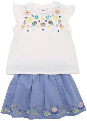 Knot Cotton Jersey T-Shirt & Chambray Skirt
