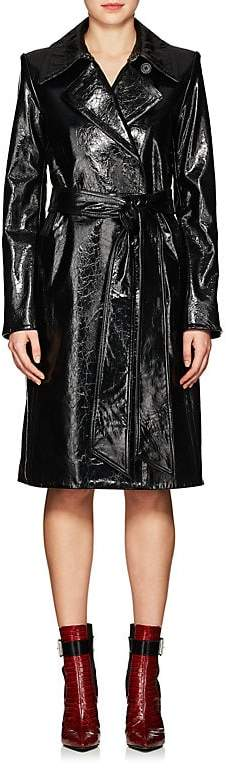 Women's Wrinkled Patent Leather Trench Coat