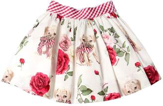 MonnaLisa Roses Print Cotton Poplin Skirt
