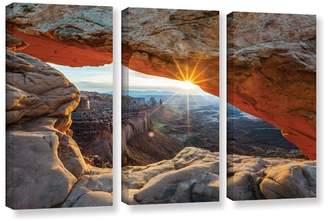 Loon Peak 'Mesa Arch Sunburst 2' by Cody York 3 Piece Photographic Print on Wrapped Canvas Set