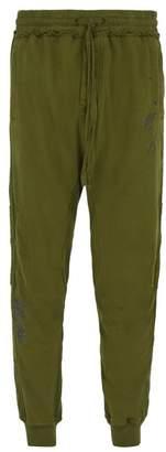 Haider Ackermann Floral Embroidered Cotton Track Pants - Mens - Khaki
