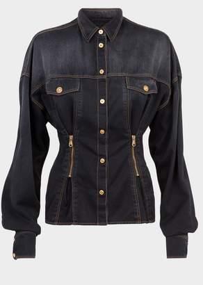 Versace Gold Stitch Zip Pleated Denim Jacket