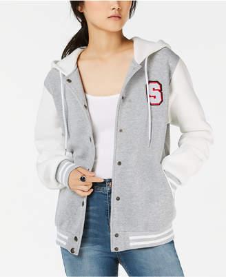 Say What Juniors' Letterman Knit Hoodie Jacket