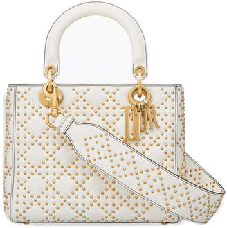 Christian Dior Top Handle Supple Lady Bag Cannage Studded Off White