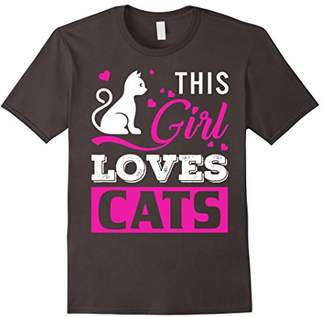 Cat T Shirt This Girl Loves Cats Gift T-Shirt Funny