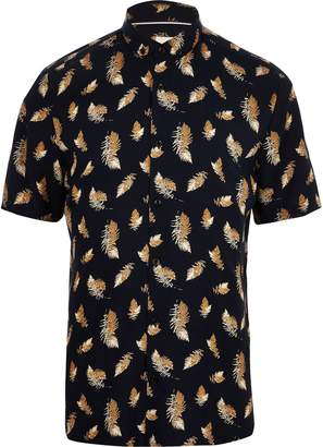 River Island Mens Navy short sleeve feather print T-shirt