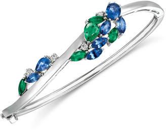 LeVian Le Vian Precious Collection Sapphire (2-3/8 ct. t.w.), Emerald (1-1/5 ct. t.w.) and Diamond (1/5 ct. t.w.) Bangle Bracelet in 14k White Gold