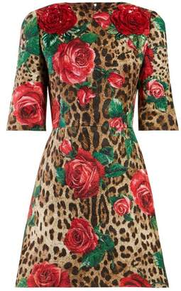 Dolce & Gabbana Rose And Leopard Print Cloque Dress - Womens - Multi
