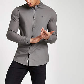 River Island Grey button-down collar long sleeve shirt