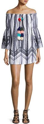 Red Carter Rio Striped Off-the-Shoulder Tassel-Trim Mini Dress, White/Multicolor $230 thestylecure.com