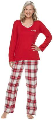 Croft & Barrow Petite Tee & Flannel Pants Pajama Set