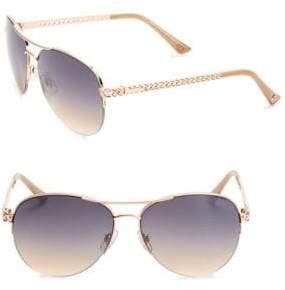 Jessica Simpson 60MM Link-Temple Mirrored Aviator Sunglasses