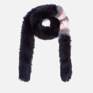 BKLYN Women's Fox Fur Scarf - Navy/Baby Pink Stripes