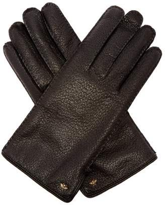 Gucci Bee Embellished Grained Leather Gloves - Mens - Black