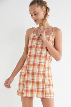 Urban Renewal Vintage Remnants Plaid Straight-Neck Mini Dress