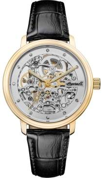 Ingersoll Crown Automatic with Rose Gold Ip Stainless Steel Case, Skelton Dial and Black Leather Strap