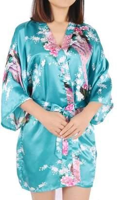 Unique Bargains Vintage Floral Satin Robe Dressing Gown Rayon Wedding (Lake Blue Floral, XL)
