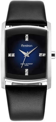 Armitron Men's Crystal Accent Black Leather Strap Watch 32mm 20-4604DBSVBK