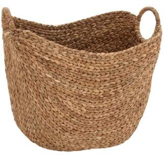 Deco 79 Large Seagrass Woven Wicker Basket with Arched Handles