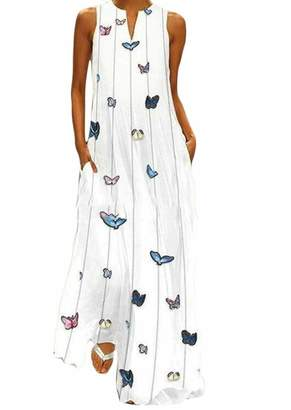 4c9247d1530c Wofupowga-CA Womens Butterfly Print V Neck Pocket Sleeveless Plus Size Maxi  Dress 3XL