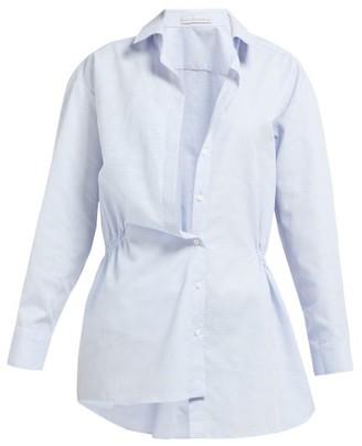Palmer Harding Palmer//Harding Palmer//harding - Mask Asymmetric Cotton Pique Shirt - Womens - Light Blue