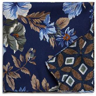 Bloomingdale's The Men's Store at Floral/Medallion Reversible Pocket Square - 100% Exclusive