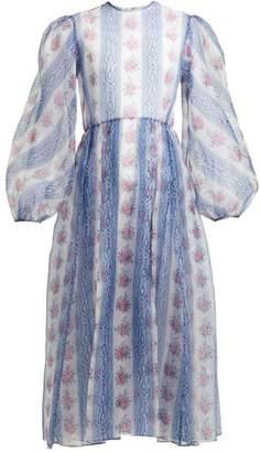 Emilia Wickstead Veronica Floral Print Silk Organza Dress - Womens - Blue Print