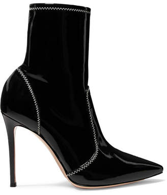 Gianvito Rossi 105 Patent-leather Ankle Boots - Black