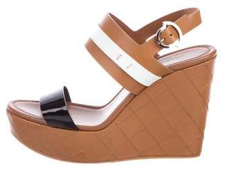 Moncler Leather Wedge Sandals
