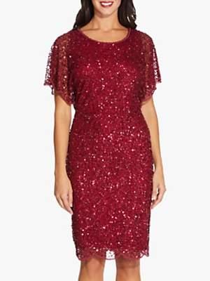 Adrianna Papell Flutter Sleeve Bead Dress, Cranberry
