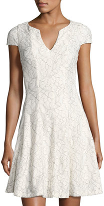 Julia Jordan Split-Neck Floral-Lace Dress, White/Black $99 thestylecure.com