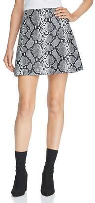 Veda Snake-Print Leather A-Line Mini Skirt