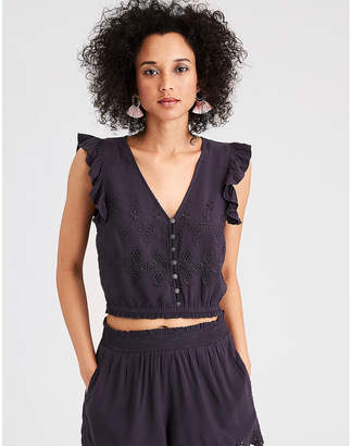American Eagle AE Button-Up Crop Top