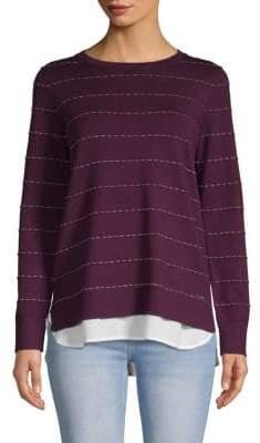 Calvin Klein Broken Striped Twofer Sweater